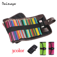 Dainayw Canvas Pencil Wrap 48 Pencil Holder Colored Pencils Case Roll Multi Purpose Pouch For School