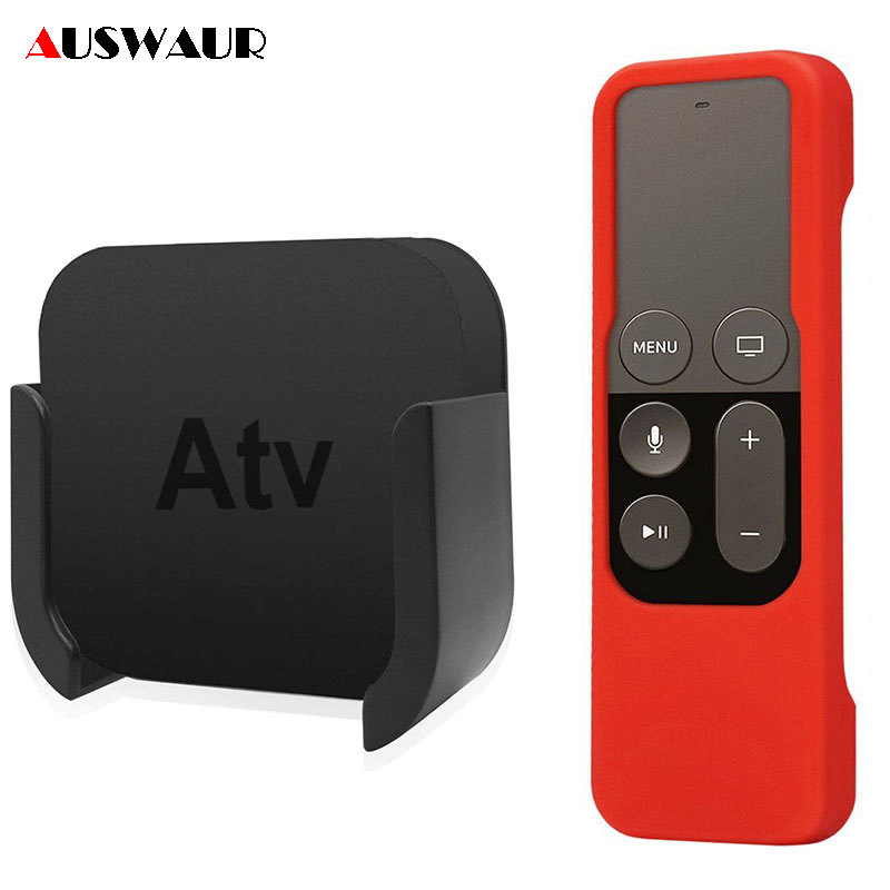 TV Mount For Apple TV 4K 4th Wall Mount Bracket Holder For Apple TV 4th And 4K Silicone Siri Remote Control Protection Case