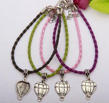 30pcs Zinc Alloy Plating Silver Hot Air Balloon Charm Pendant Mixed Color Braided Rope Bracelet Jewelry DIY For Women&Men H625