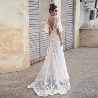 Elegant White Women Long Dress Summer Flare Sleeve Sexy Lace V neck Backless Maxi Dress Party Embroidery Flower Female Dress