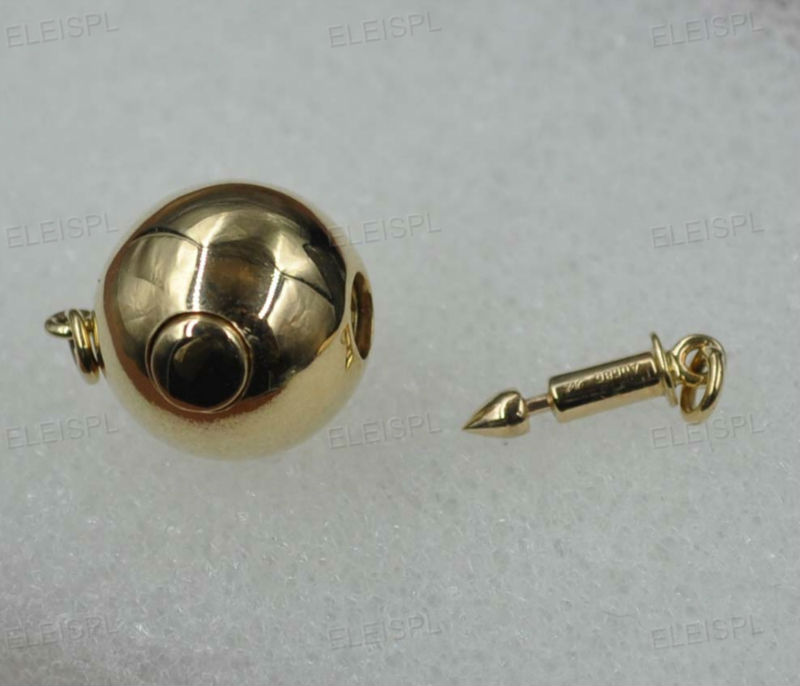 11.5mm rond 14 k or jaune fermoir inséré bar boutons style