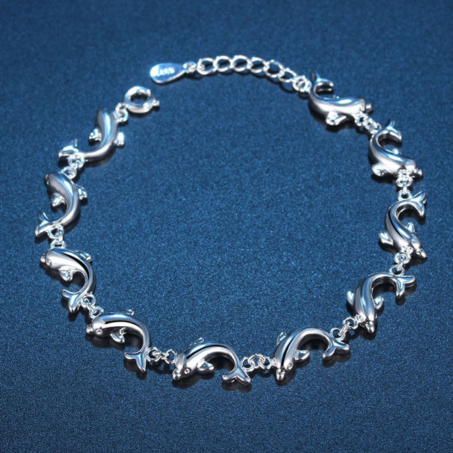 Fashion Jewelry Pure Dolphin Bracelet Silver Color Size 16 5cm Drop Shipping