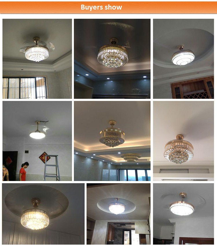 European-style LED Invisible Crystal Fan Light (14)
