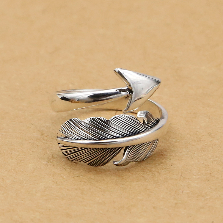 Feather & Arrow Silver 925 Cuff Ring Men Women Tail Band Indian Style Sterling Silver 925 Jewelry Handmade Top Quality Free Box