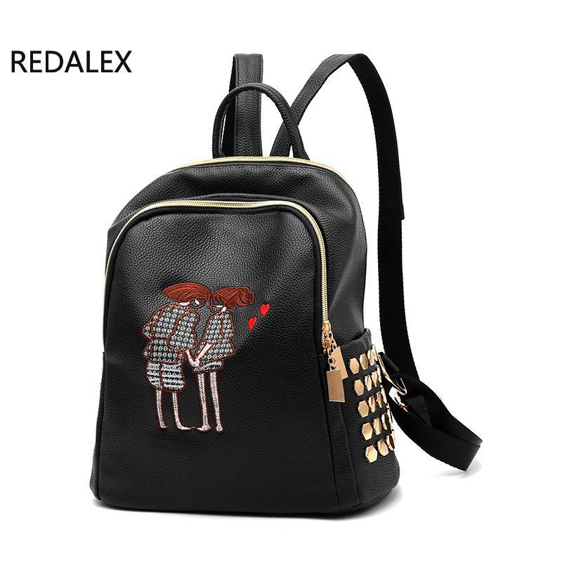 REDALEX Lovers Embroidery Women Backpack Shoulder Bag School Bags Backpacks Women Pu Leather For Teenage Girls Mochila Feminina внеклассное чтение питер пэн барри дж