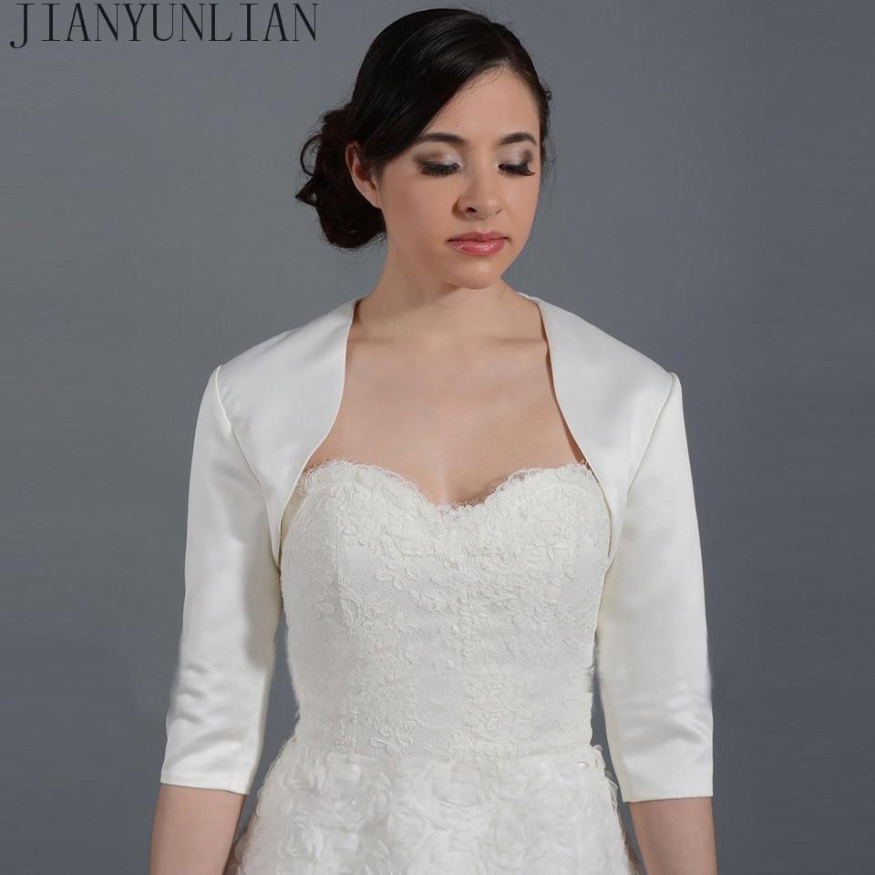 2020New White/ Ivory Satin Fashion Half Sleeve Wedding Jacket Custom Made Bolero Wedding Accessories Cape Mariage Bridal Wraps