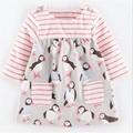 Bebê vestido da menina do outono crianças Pinguim Tarja roupas de manga longa crianças casuais de algodão dot princesa meninas vestidos de roupas de outono