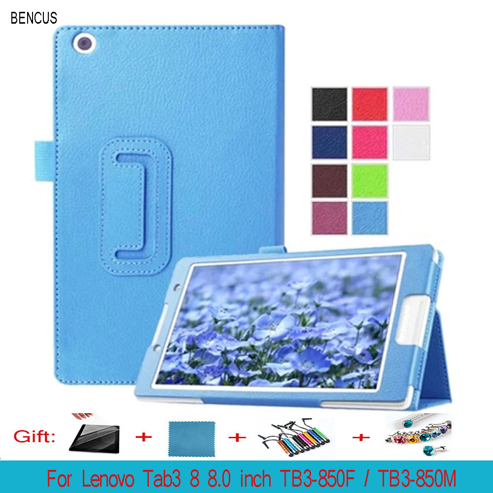 BENCUSTab3 8 Protective Bag Flip PU Leather Book case For Lenovo Tab 3 8 8.0 inch TB3-850F TB3-850M Tablet PC Litchi Stand Cover