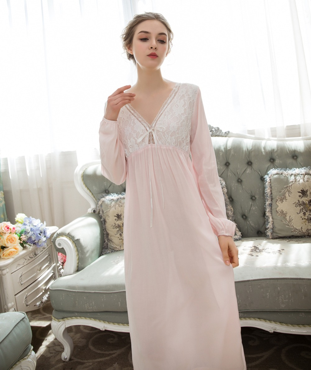Cotton Loose Nightwear Women Long Nightdress Elastic Cuff Lace Nightgowns Sleepshirts Sexy Bow Summer Spring Home Dress