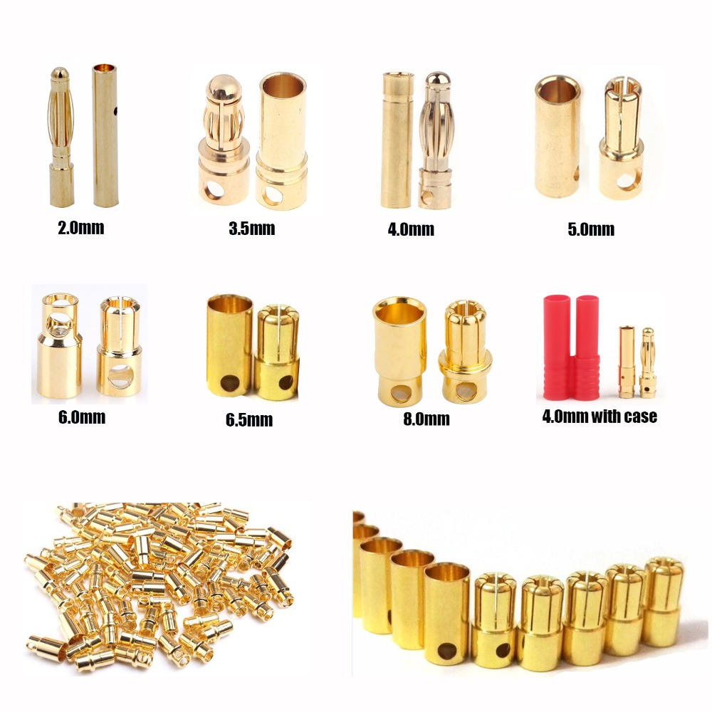 10pcs 2.0mm 3.5mm 4.0mm 5.0mm 5.5mm 6.0mm 6.5mm 8.0mm Banana Gold Bullet Connector Plug For Battery Connector Motor ESC RC Parts