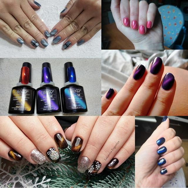 Elite99 3D Magnetische Gel Katzenauge Gel Lack Silber Linie Nagel Gel Polish Nail art Lack Blau Basis Farbe emaille 58 Farben 10 ml