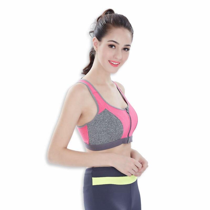 Women Sports Bra Zip Underwear Brassiere Push Up Without Steel Ring Fitness Gym Yoga Waistcoats Tops Female Running Sport Zipper (11)