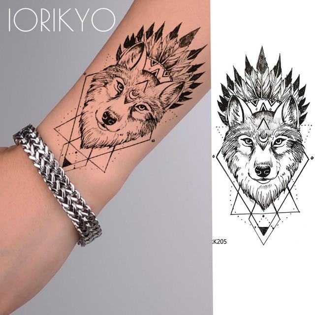 b067230af5753 IORIKYO Geometry Punk Wolf Temporary Tattoo Men Arm Stickers Black Small  Fake Personality Tatoo Women Body Art Waterproof Tattoo