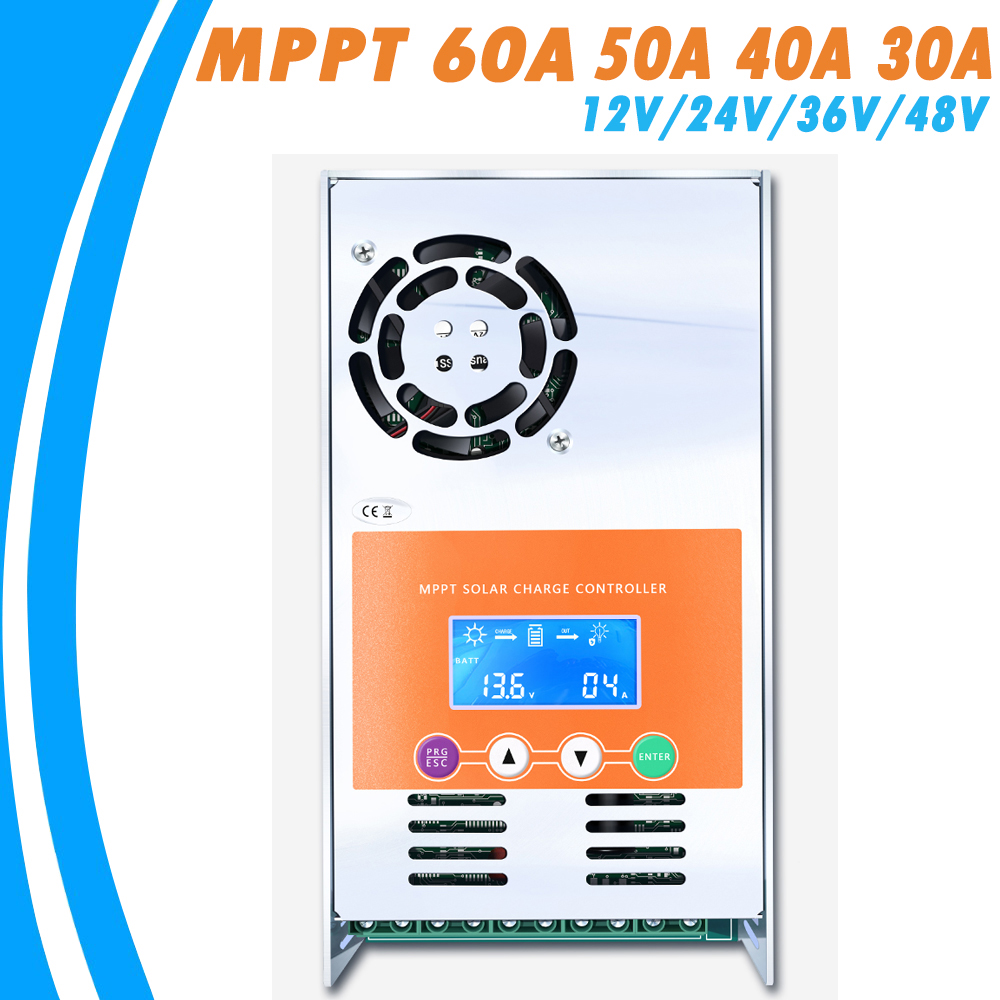 MPPT 60A 50A 40A 30A Solar Charge and Discharge Controller 12V 24V 36V 48V Auto for Max 190VDC Input Vented Sealed Gel Nicd Li