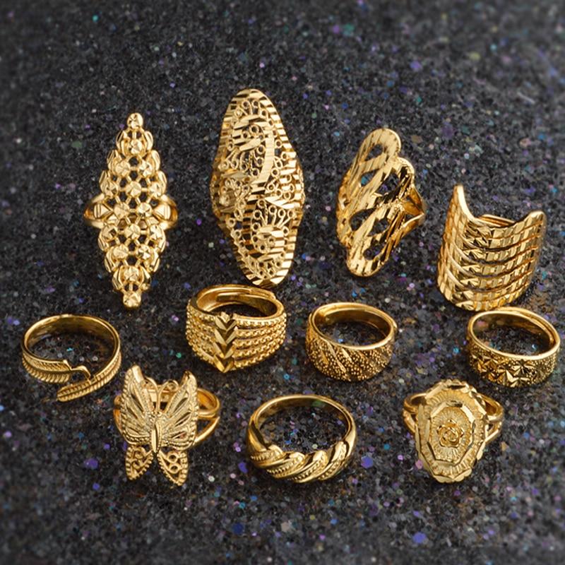 11 Arten! Neueste Hochzeit Engagement Jahrestag Ringe Für Frauen Männer 24 K Gold Farbe Ring Schmetterling Blume Braut Afrikanischen Schmuck