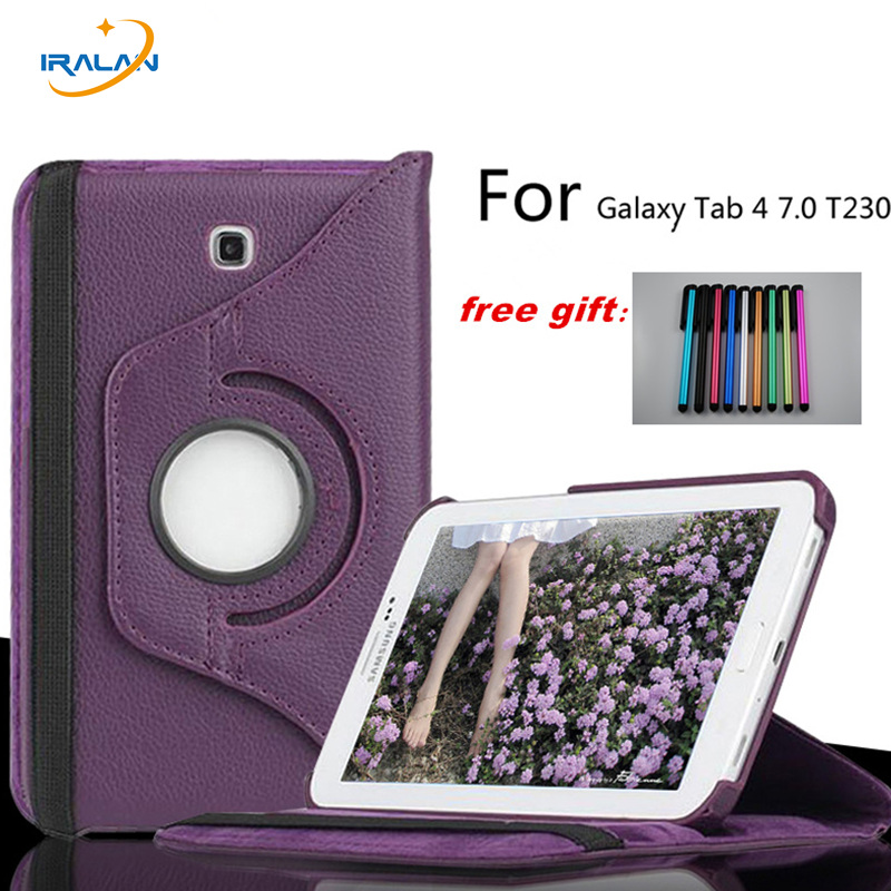 Hot wholesale case For Samsung Galaxy Tab 4 7.0 T230 T235 SM-T237P 360 Rotating PU Leather Stand Shock Proof Tablet Cover+Stylus
