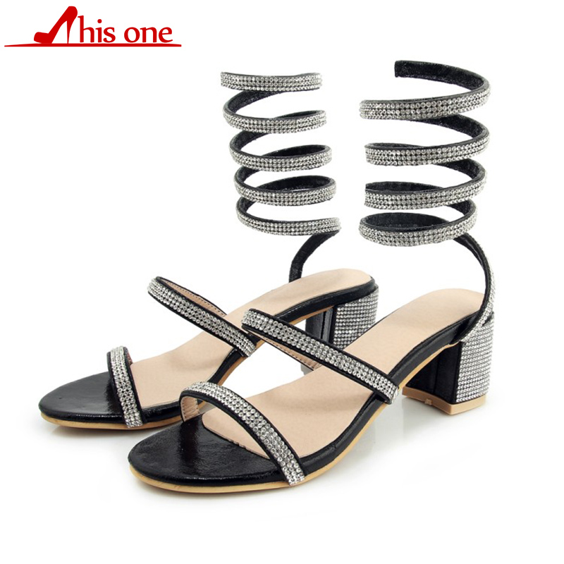 THIS ONE Women Sandals 2018 Fashion Snake winding Crystal Thick Heels Sandalias Open Toe Summer Gladiator Sapatos plus size35-44THIS ONE Women Sandals 2018 Fashion Snake winding Crystal Thick Heels Sandalias Open Toe Summer Gladiator Sapatos plus size35-44