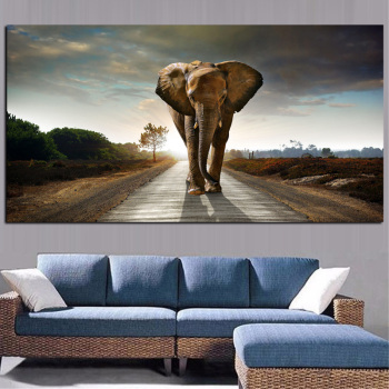 African Elephant Landscape Oil Painting Printed on Canvas 2