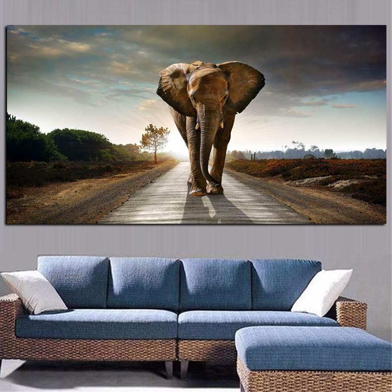 Africa Elephant Animal Landscape Oil Painting on Canvas Pop Art Poster and Print