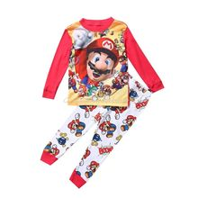 2016 wholesale dropshipping new super mario boys baby kids sleepwear nightwear pajamas sets 1~7Y