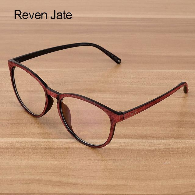 Reven Jate Men and Women Unisex Wooden Pattern Fashion Optical Spectacles Eyeglasses High Quality Glasses Optical Frame Eyewear
