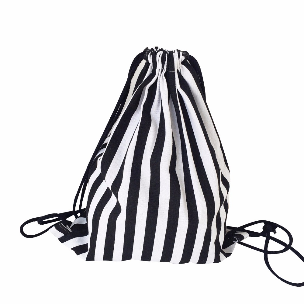 ISHOWTIENDA Drawstring Backpack 2020 NEW Unisex Printing Drawstring Bag Women Black White Stripe Shopping Travel Bag Saco Hombre