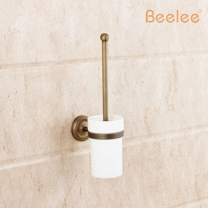 Beelee BA6104A Bathroom Lavatory Toilet Brush with Holder Wall Mount Brass Antique Wall Mounted Soild Brass Toilet Brush HolderBeelee BA6104A Bathroom Lavatory Toilet Brush with Holder Wall Mount Brass Antique Wall Mounted Soild Brass Toilet Brush Holder
