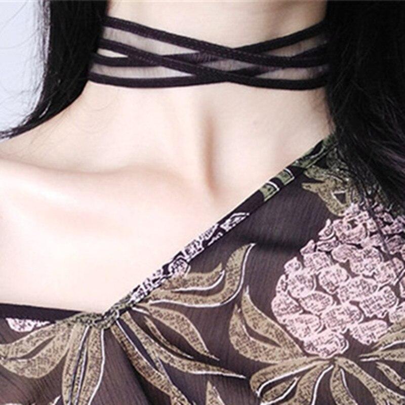 Эластичные чокеры, ожерелья для женщин, Черное кружево, полые цветы, короткие ключицы, ожерелье, модные ювелирные изделия, готический стиль, бижутерия, стимпанк