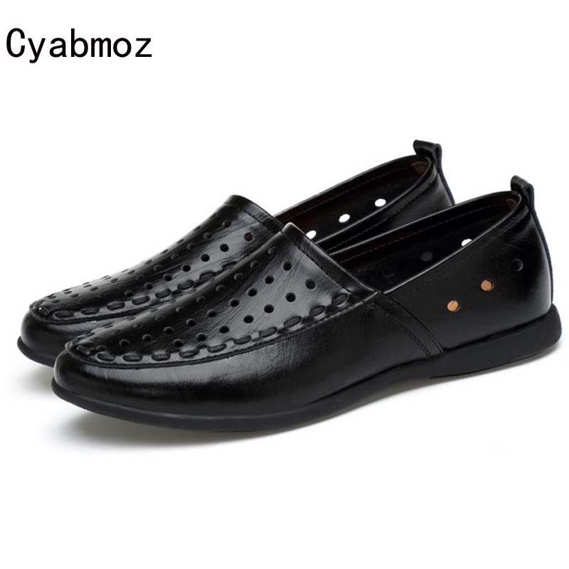Cyabmoz Brand Men Loafers 2018 Mens Slip On Summer Flats Boat Shoe Fashion Casual Moccasins Men Driving car shoes Big Size 38-47 cyabmoz plus size 38 47 fashion men shoes breathable casual moccasins men loafers high quality genuine leather shoes men flats