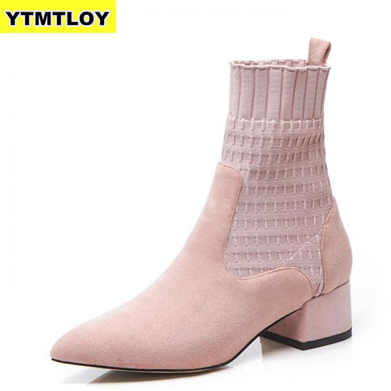 Women's Boots Pointed Toe Yarn Elastic Thick Heel High Heels Shoes Woman Female Socks Knitting Ankle Boots Pink Shoes Black