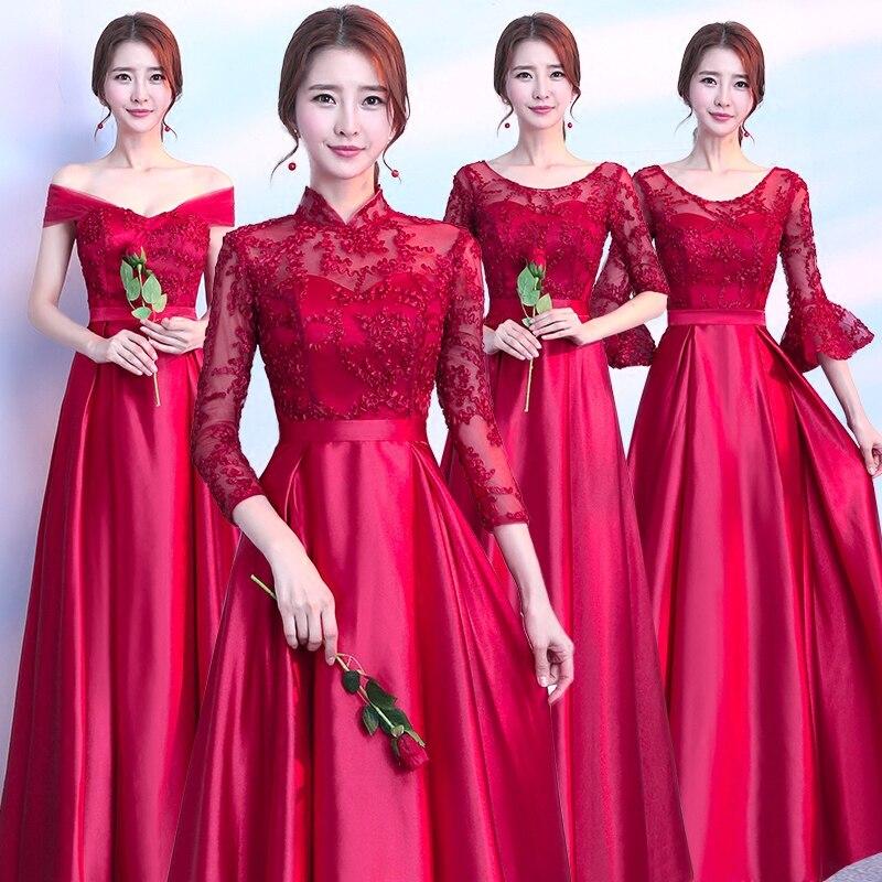 Vintage Wedding Dresses Red: Sweet Memory Satin Embroidery Bridesmaid Dresses Burgundy