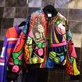 Негабаритных harajuku куртка женщин 2016 осень и зима круто королева вышивка абстрактный кошка с длинными рукавами бейсбол куртки