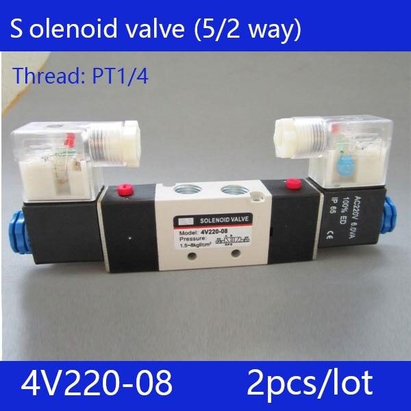 Free shipping 2pcs pcs good qualty 5 port 2 position Solenoid Valve 4V220 08 have DC24v