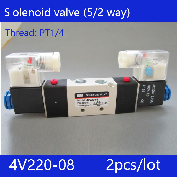 Free shipping 2pcs/pcs good qualty 5 port 2 position Solenoid Valve 4V220-08,have DC24v,DC12V,AC24V,AC36V,AC110V,AC220V,AC380V 2pcs free shipping high quality 1 4 4v220 08 5 ways 2 positions air control solenoid valve dual head dc12v or dc24v