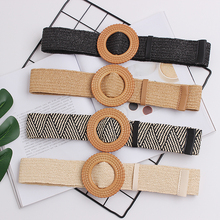 New Vintage Knitted Wax Rope Wooden Bead Waist Women Smooth Buckle Belt Woman Woven Female Hand-Beaded Braided BZ67