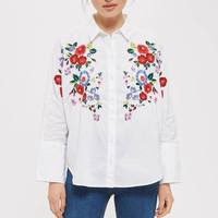 OYK8174 Za Women Foral Embroideried HQ Blouses OL Lady White Flower Shirt Cotton Womens Camisa Loose