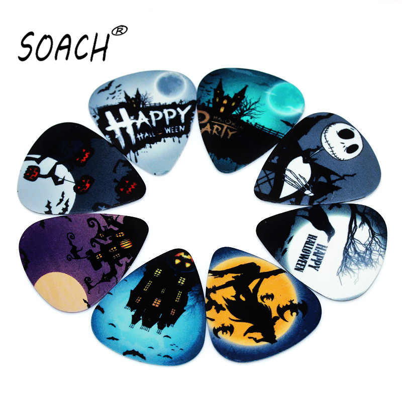 SOACH 10pcs 0.46mm Guitar Paddle PVC Double-sided Printing Halloween Mixed Pattern Picks Ukulele Acoutsic Guitarra Accessories