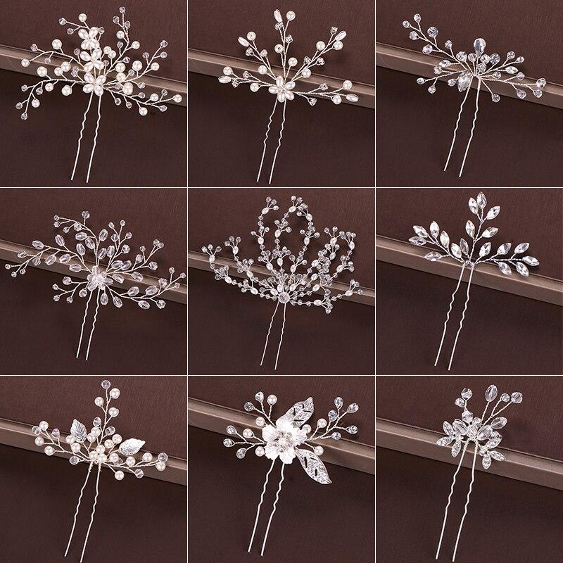 Модные Серебристые дизайнерские украшения на голову, жемчужные стразы, шпильки для волос, хрустальные свадебные аксессуары для волос, женс...