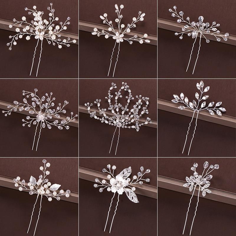 Модные серебряные дизайнерские украшения на голову, жемчужные стразы, шпильки для волос, хрустальные свадебные аксессуары для волос, женск...