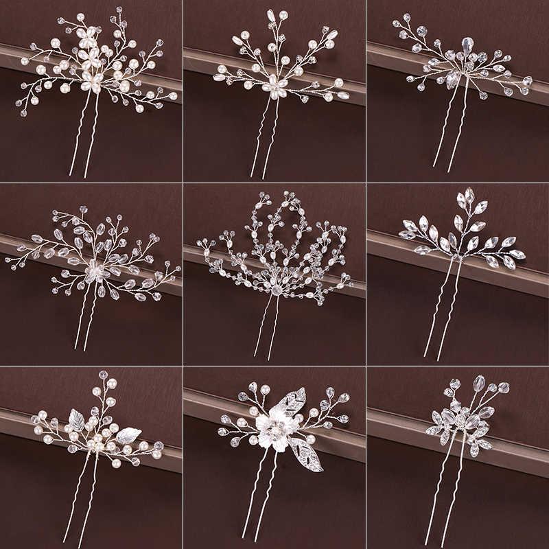 Mode argent Design tête bijoux perles strass épingles à cheveux bâtons cristal accessoires de cheveux de mariée femmes pinces à cheveux de mariage