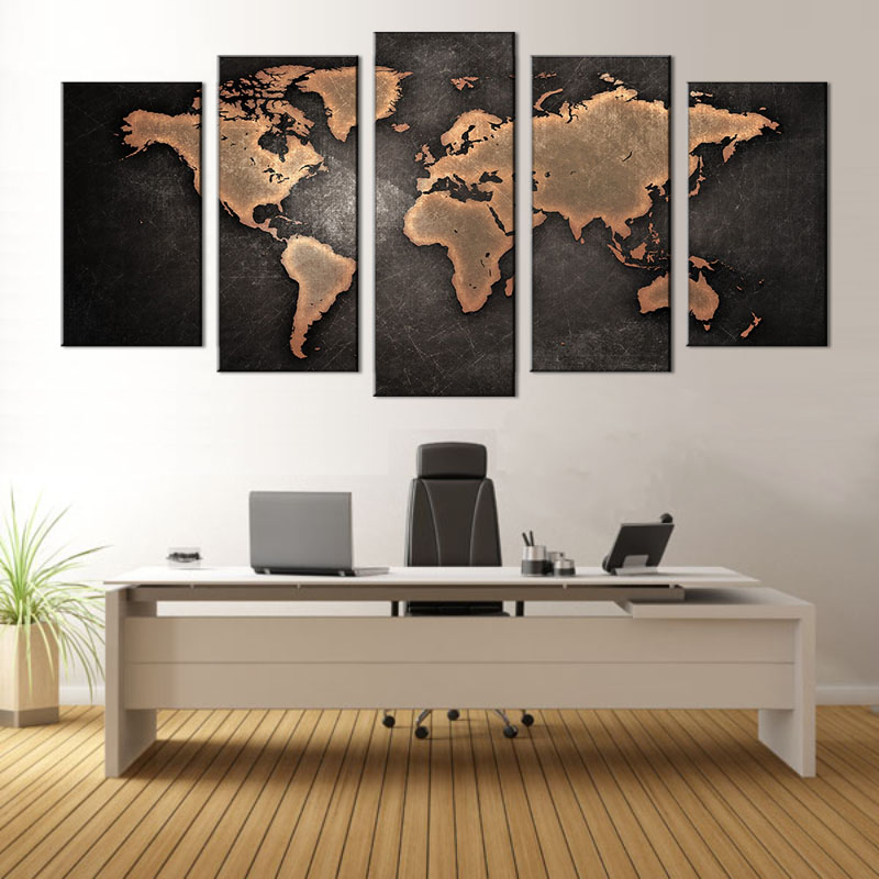 5 PcsSet Framed Abstract Black World Map