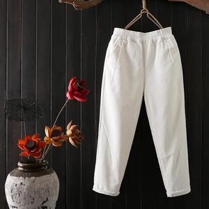 Image 3 - Женские вельветовые брюки, повседневные шаровары большого размера 3XL с эластичным поясом, на осень и зиму, C4856