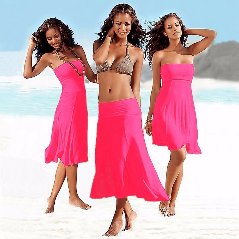 Pretty Solid Summer beach dress women Spaghetti Robe Vestidos Sexy Ladies Party skirt Bathing Cover Ups HQVB004