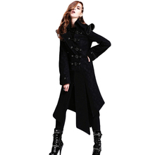 Steampunk Gothic Winter Women Black Coat Jacket Female Long Sleeve Windbreakers Gothic Handsome Pattern Jackets