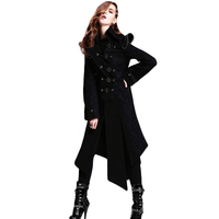 Steampunk Gothic Winter Women Black Coat Jacket Female Long Sleeve Windbreakers Gothic Handsome Pattern Jackets