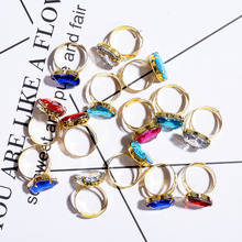 Wholesale 10pcs/Set Fashion Heart Crystal Band Rings for Child Girls Adjustable Ring Gold Color Jewelry Gifts Size:16mm-17mm
