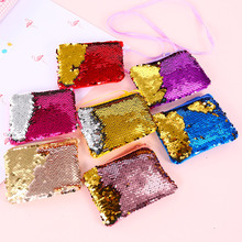 2018 NEW Fashion Children Coin Purse Mini Paillette Coins Wallet Mermaid Sequins Money Bags Cartoon Change Wallets Kid Gift