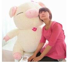 big lovely plush pig doll lovely smile pig toy sanshun pig doll gift about 85cm white