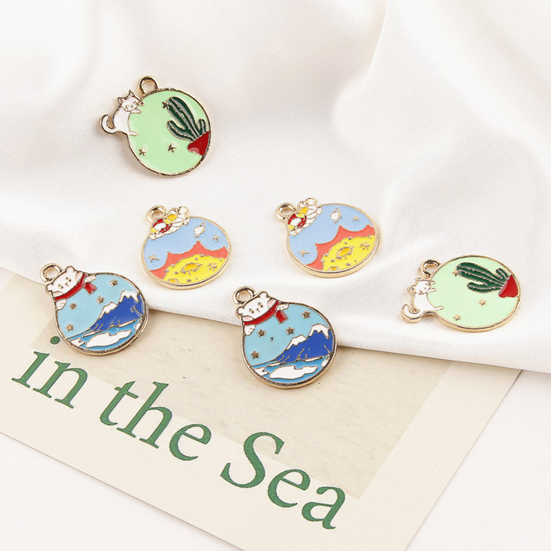 10PCS Oil Drop Cats Planet Pendant Round Shape Enamel Charms Fit DIY Necklace Accessories Charms Bracelet Jewelry Making FX081 in Charms from Jewelry Accessories