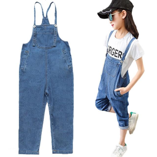 a3e90e3cbf DZIECKO New Teenager Girls Jeans Overalls Summer Fashion Children Strap  Long Denim Jumpsuit Bib Pants Girl Overalls Kid Clothing